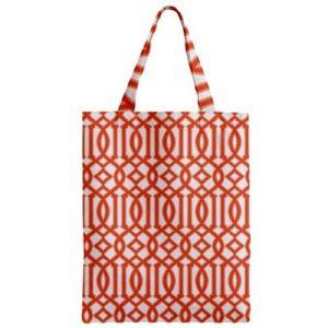 NWT Printed Tote Bag Orange Geometric Designer